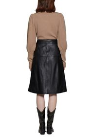 Walter Baker Aline Leather Button Front Midi Skirt