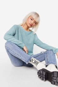 Nasty Gal Mint Petite Knitted Relaxed Sweater