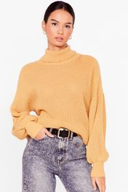 Nasty Gal Camel Let's Roll Knitted Balloon Sleeve