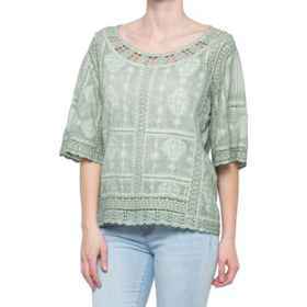 Mineral Wash Crochet Shirt - Elbow Sleeve (For Wom
