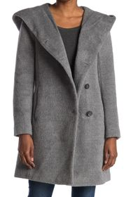 Cole Haan Wool Blend Hooded Coat