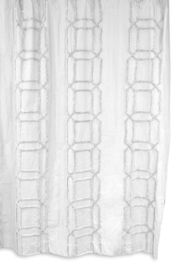 BCBG Clip Cube Tufted Shower Curtain - White/White