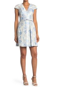 Vince Camuto Jacquard Cap Sleeve Fit & Flare Dress