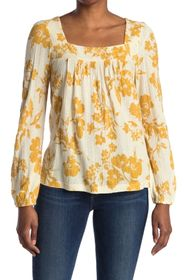 Lucky Brand Floral Square Neck Long Sleeve Top