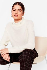 Nasty Gal Ivory Baggy High Neck Knit Sweater