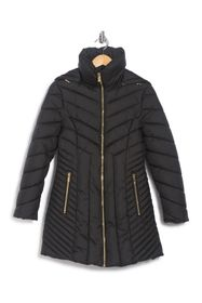 Anne Klein Funnel Neck Puffer Hooded Jacket