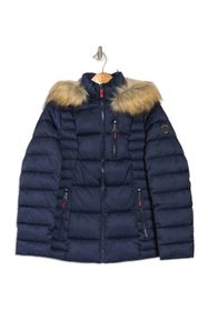 Nautica Short Puffer with Faux Fur Hood