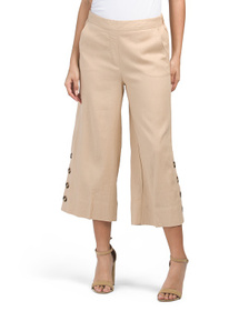 Linen Pants With Button Detail