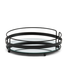 Round Vanity Tray With Mirror Base