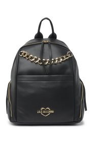 LOVE Moschino Heart Chain Leather Backpack