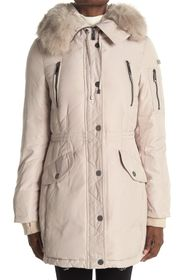 BCBGMAXAZRIA Faux Fur Trim Hooded Down Jacket