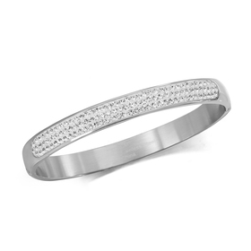 Womens Stainless Steel Clear Crystal Bangle Bracel