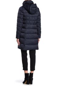 Tahari Brooklyn Hooded Asymmetrical Zip Down Puffe