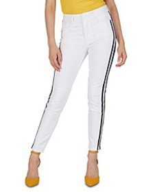 High-Rise Side-Stripe Skinny Jeans
