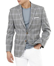 Men's UltraFlex Gray Plaid Sport Coat