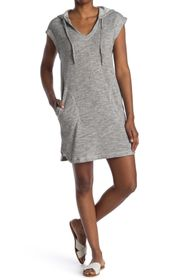 Max Studio French Terry Short Sleeve Hooded Dress