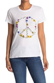 Lucky Brand Floral Peace Sign T-Shirt