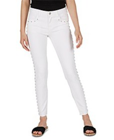 Mid-Rise Studded Cropped Skinny Jeans