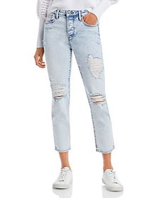 AQUA - Straight Destroyed Ankle Jeans in Light Was