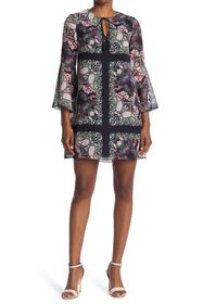 Vince Camuto Printed Split Neck Bell Sleeve Dress