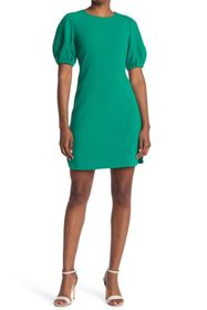 Vince Camuto Puff Sleeve Jewel Neck Crepe Dress