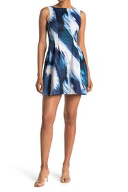 Vince Camuto Printed Scuba Fit & Flare Sleeveless