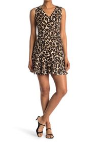 Vince Camuto Leopard Ruche Sleeveless A-Line Dress
