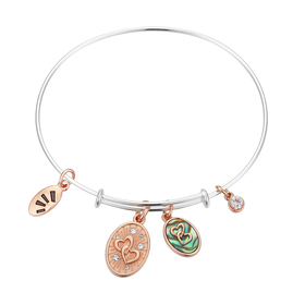 Womens LA Rocks Mother and Daughter Hearts Bangle