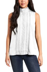 Vince Camuto Lace Detail Sleeveless Crêpe de Chine