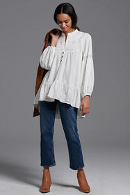 Anthropologie Haley Embroidered Lace Tunic Blouse