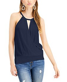 INC Keyhole Surplice Halter Top, Created for Macy'