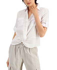 INC Linen Twist-Hem Roll-Tab Blouse, Created for M