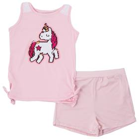 Girls (4-7) Poof! Unicorn Sequin Tank Top and Shor