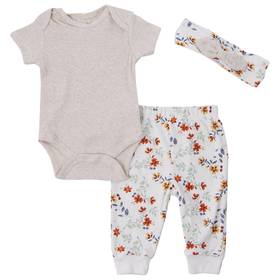 Baby Girl (NB-9M) Chick Pea 3pc. Floral Joggers Se