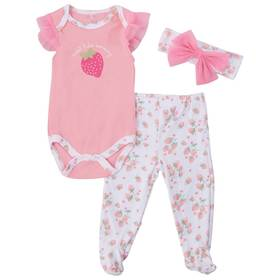 Baby Girl (NB-9M) Le Top 3pc. Strawberry Footed Pa
