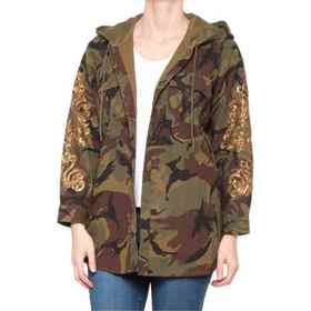 Miss Me Camo Hooded Shirt Jacket - Long Sleeve (Fo