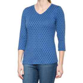 North River Printed V-Neck Shirt - 3/4 Sleeve (For