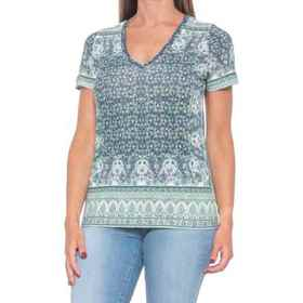 Lucky Brand V-Neck Printed Graphic T-Shirt - Short