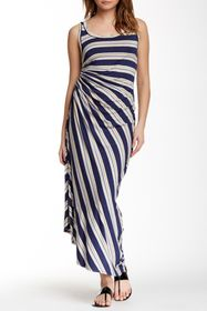 Max Studio Striped Ruched Side Maxi Dress
