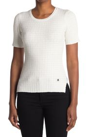G-STAR RAW Silber Ribbed Short Sleeve Top