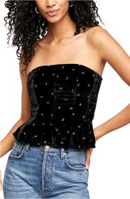 Free People Rosie Embroidered Velvet Bustier