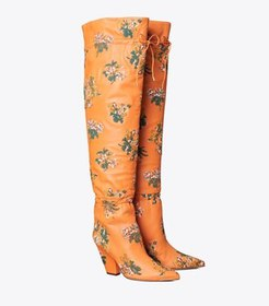 Tory Burch lila embroidered over-the-knee scrunch