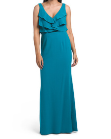 Ruffle Crepe Gown