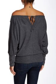 Go Couture Printed Off-the-Shoulder Dolman Sweater