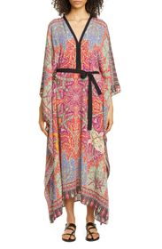Etro Floral Tie Waist Caftan Cover-Up