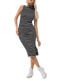 FRENCH CONNECTION - Tommy Ribbed Striped Midi Dres