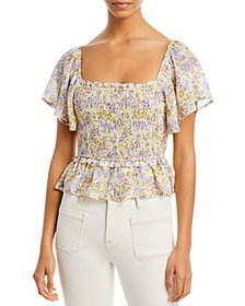 ASTR the Label - January Smocked Square Neck Top