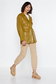 Nasty Gal Lime Faux Leather Longline Relaxed Belte