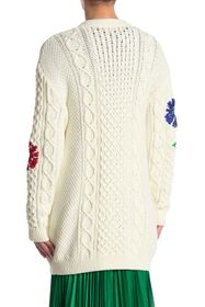 RED Valentino Floral Cable Knit Cardigan