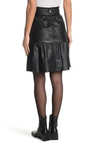 RED Valentino Tiered Leather Short Western Skirt